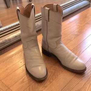 Cream leather mid-calf boots